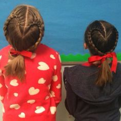 so cute on little girls. Valentine's Day Hairstyles, Braided Ponytail Hairstyles, Everyday Hairstyles, Hairstyles For School, Wedding Hairstyles, Updo Hairstyle, Different Braid Styles, Renaissance Hairstyles, Gymnastics Hair