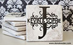 Split Letter Monogram Tile Coaster Wedding Gift #scraptabulousdesigns #cricutexplore