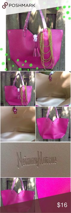 Neiman Marcus Tote Neiman Marcus never used fuchsia tote with Tassal detail: easily fits laptop; on back slight mark; bag came like that; tried to take picture see 3rd set of photos Neiman Marcus Bags Totes