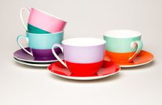 Jumbled cup and saucer © Tea Ceramic Tableware, Ceramic Pottery, Kitchenware, Cute Tea Cups, Turquoise And Purple, Color Blocking, Colour Block, Color Pop, Texture