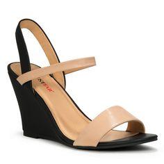 JustFab Kellen nude and black heels