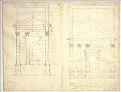 Andrea Palladio. Plan and elevation of a tetrastyle prostyle temple in the Corinthian order and the Temple of Minerva, Assisi. 1560s.