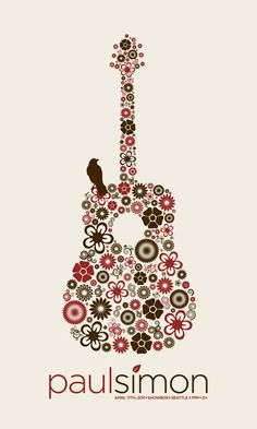 Sweet gigposter - a guitar made of flowers