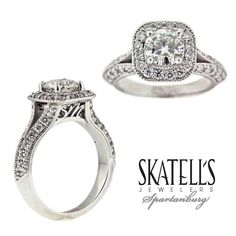 Customized engagement ring with the couples initials on each side of the profile. Just a little something extra to make this a truly unique one of a kind ring design.