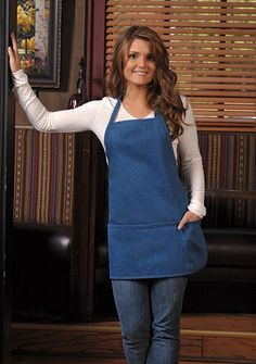 art or cooking apron in 100% cotton denim