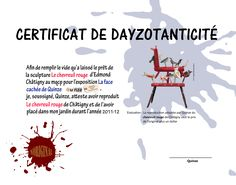 certificat de dayzotanticité du'' chevreuil rouge'' d'Edmond Chatigny par Quinze. La Face, Movie Posters, Art, Certificate, Red, Film Poster, Popcorn Posters, Kunst, Billboard