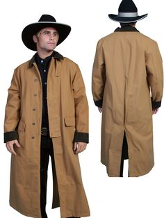 Scully RangeWear Mens Brown 100% Cotton Long Overcoat Duster Coat