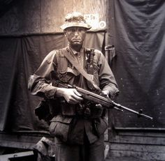 Uncertain identification, appears to be a US Army Special Forces SOG (Studies and Operations Group) Trooper, Vietnam c. 1970.
