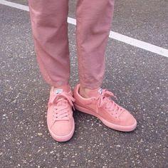 pinterest // @reflxctor pink PUMA SUEDE #pink #style