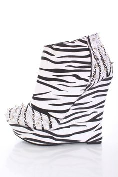 Zebra Silver Velvet Beaded Spike Studded Ankle Bootie Wedges
