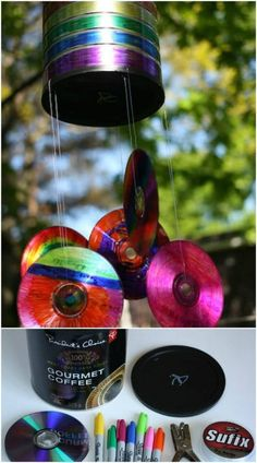 Upcycled Coffee Can CD Wind Chimes