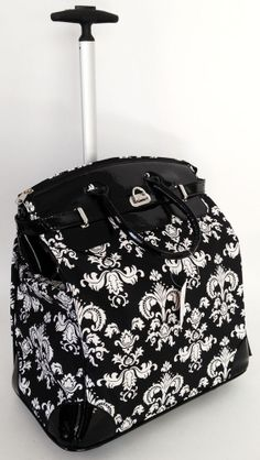 """19""""Computer/Laptop Tablet Bag Tote Duffel Rolling Wheel Padded Case Purse Damask  - So Cute!!"""
