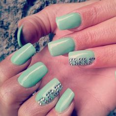 Mint Green with rhinestone accent nail