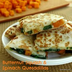 Butternut Squash and Spinach Quesadillas - these are soooo good! Great with sweet potato too. #vegetarian