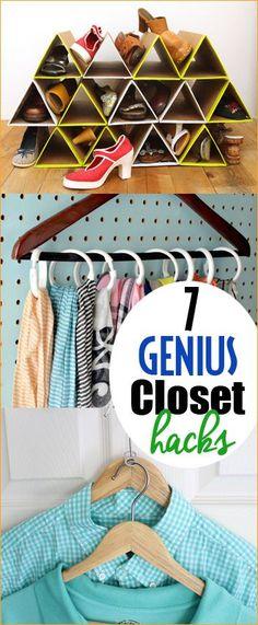 7 genius Closet Hacks.  Turn your tornado closet into a organized room.  Clothing hacks to keep small closets organized.  Shoe organization, scarf organization and shared closet tips and tricks.