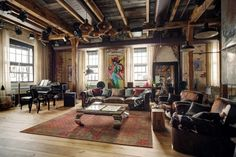 The sign of a true loft:a place with history; Warehouse Apartment, Warehouse Living, Warehouse Home, Design Loft, Loft Interior Design, House Design, Industrial Home Design, Industrial House, Converted Warehouse