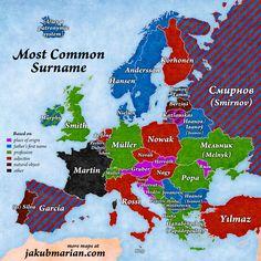Europa: Apellidos mas comunes
