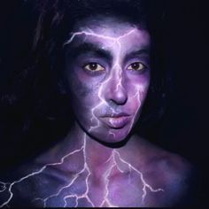 Electric storm lightning makeup