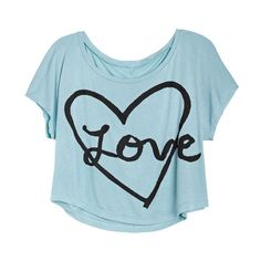 Heart & Love Tee (14 AUD) ❤ liked on Polyvore featuring tops, t-shirts, shirts, blusas, graphic tees, heart t shirt, graphic print t shirts, blue t shirt, graphic print tees and graphic tops