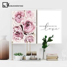 Scandinavian Style Pink Flower Painting Wall Art Canvas Posters Nordic Prints Decorative Picture Modern Home Bedroom Decoration - Ideas Flowers Scandinavian Style, Scandinavian Bedroom Decor, Nordic Style, Scandinavian Garden, Canvas Poster, Canvas Art Prints, Canvas Wall Art, Quote Canvas, Quote Wall