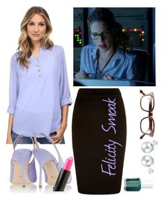 """""""Felicity Smoak 1.09"""" by mary-grace-see on Polyvore featuring Brigitte Bailey, Sergio Rossi, Steven Alan, Essie, Bling Jewelry and NYX"""
