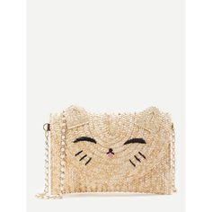 Cat Shaped Straw Crossbody Bag ($23) ❤ liked on Polyvore featuring bags, handbags, shoulder bags, straw purse, straw shoulder bag, shoulder strap bags, white crossbody and white cross body handbags