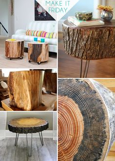Make It Friday: Tree Slice Tables || DIY Roundup via Jade and Fern