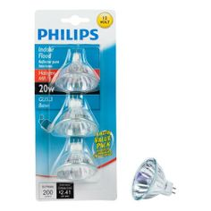Philips 415687 Landscape and Indoor Flood 20-Watt MR16 12-Volt Light Bulb, 3-Pack by Philips. $12.96. Philips 20-Watt MR16 Landscape and Indoor flood light is ideal for use in outdoor landscape fixtures and indoor track lights. They provide a crisp, bright white halogen light and are perfect for accenting your décor. These bulbs should only be used in 12V enclosed fixtures. Light for all of your specialized fixtures. Philips Specialty Incandescent and halogen bulbs provide ...