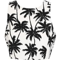 Shady Palms Crop ($32) ❤ liked on Polyvore featuring tops, shirts, crop tops, crop, tank tops, white shirt, palm tree top, shirts & tops, palm tree shirt and white top
