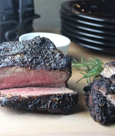 Coffee Crusted Tri Tip steak is rubbed with fresh herbs and coffee, grilled to perfection and drizzled with balsamic stout reduction for the perfect dinner.