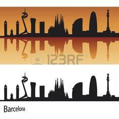Skyline de Barcelona en el fondo de color naranja en el archivo vectorial editable