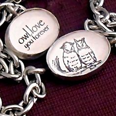 Ohmygod.    Christmas in July: Owl Love Bracelet with 2 Woodland Owls Picture and Words