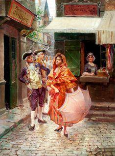 ALONZO PEREZ (Spanish, Late 19th-Early 20th Century) Parisian Gallantry, 1893