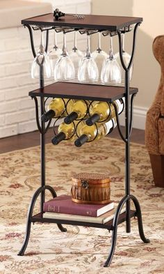 24 Bottle wine bottle rack with stemware holder is made of wood and finished in a dark espresso stain. Iron Furniture, Steel Furniture, Home Furniture, Game Room Bar, Kitchen Games, Wrought Iron Decor, Mini Bars, Iron Art, Hall