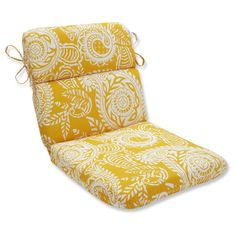 Outdoor/Indoor Addie Egg Yolk Rounded Corners Chair Cushion - Pillow Perfect, Yellow