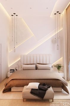 Small Bedroom Interior, Bedroom Bed Design, Modern Bedroom Design, Apartment Interior, Room Decor Bedroom, Bedroom Ideas, Luxury Homes Interior, Interior Design, Modern Minimalist Bedroom