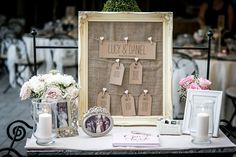 Vintage frame and pin board. A simple way of creating a vintage look table plan. This frame can also be used to display guest messages and polaroid pictures.