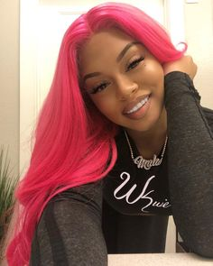2020 Pink Hair Lace Frontal Wigs Adore Pink Petal Burgundy Hair With Pink Highlights Pink Wig Men Pastel Pink Hair, Pink Wig, Hair Color Pink, Cool Hair Color, Black Girl Pink Hair, Long Pink Hair, Lace Front Wigs, Lace Wigs, Curly Hair Styles
