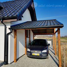 Wiata garażowa, pokrycie dachu blachodachówką / Zakład Stolarski Poznań Modern Carport, Carport Canopy, Carport Plans, Carport Garage, Garage House, House Front, House Main Gates Design, House Design, Wooden Carports