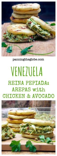 Arepas are gluten free corncakes, eaten in Venezuela in place of bread - crunchy outside, tender inside, filled with chicken or cheese or anything you like. This recipe pairs homemade arepas with scrumptious Venezuelan chicken and avocado salad. #Arepas #Recipe #ArepasRecipe #ChickenSalad