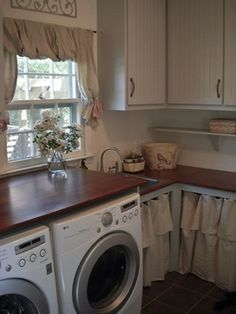Love the warm wood countertops. The dropcloth curtains on the lower cabinets hide laundry baskets for sorting. Laundry Room Design, Laundry Rooms, Laundry Baskets, Laundry Room Curtains, Basement Laundry, Laundry Area, Laundry Tips, Kitchen Curtains, Fixer Upper Style