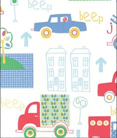 JUST 4 KIDS by Galerie. G56010 #nurseryideas #Babyboy #cars #trucks #wallpaper