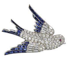 1stdibs | Fine 50's Platinum, Diamond and Sapphire Bird In Flight Brooch
