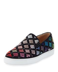 Arlettenbato+Embellished+Suede+Sneaker,+Black+by+Christian+Louboutin+at+Neiman+Marcus.