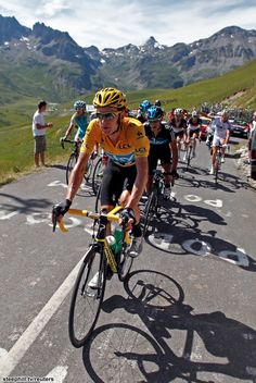 Bradley Wiggins in yellow 2012 Tour de France......Richie Porte and Froome following behind..... that was a brilliant year and of things to come well done TEAM SKY