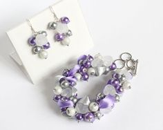 Purple Silver Rose Cluster Bracelet and Earrings Set - product images  of