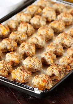 Cream Cheese Sausage Balls - Sausage Balls on Baking Sheet Image Sausage Balls on Baking Sheet Image Sausage Balls on Baking She - Quick And Easy Appetizers, Quick Snacks, Appetizers For Party, Appetizer Recipes, Sausage Appetizers, Sausage Party, Dinner Recipes, Sausage Breakfast, Breakfast Recipes