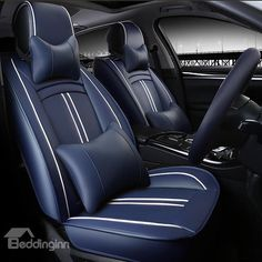 Black Soft Supple Quilted Luxury Leather Look Airbag OK Car Taxi Front Seat Covers Set