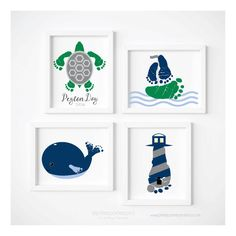 Turnaround time for proofs is currently 2-3 business days. Thank you! ____________________________________________________________ CUSTOM BABY FOOTPRINT NAUTICAL ART PRINT SET, UNFRAMED Set of 4 custom art prints of YOUR baby's right and left foot made into a sea turtle, whale, lighthouse & sailboat. These prints can use either STOCK footprints or your childs footprints. Please see below if you wish to use your childs footprints. TO USE YOUR CHILDS FOOTPRINTS YOU MUST ALSO ADD THE CONVERT…
