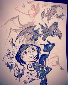 """Hush, and shush, for the beldam might be listening"" Coraline Art, Tim Burton Art, Coraline Aesthetic, Sketches, Drawings, Coraline Drawing, Anime, Coraline, Coraline Jones"